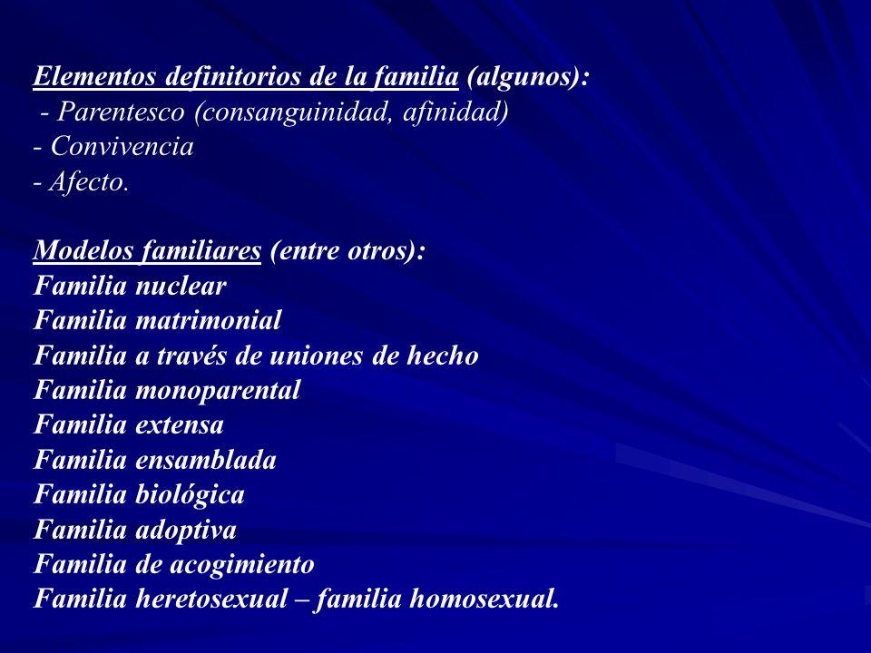 Elementos definitorios de la familia (algunos):