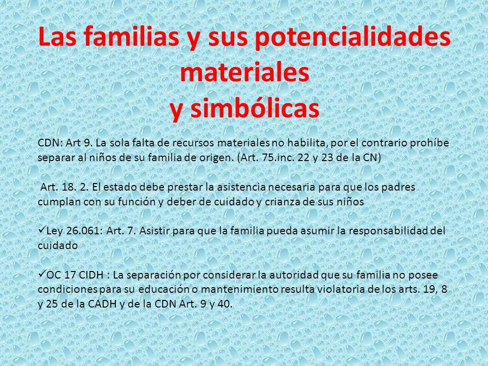 Las familias y sus potencialidades materiales y simbólicas