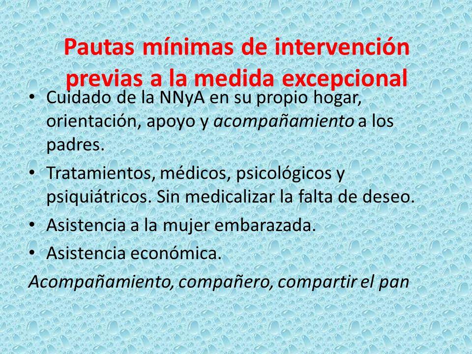 Pautas mínimas de intervención previas a la medida excepcional