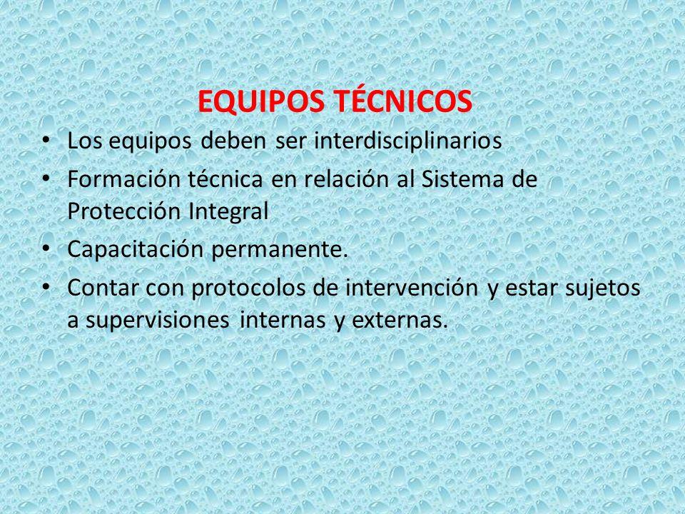 EQUIPOS TÉCNICOS Los equipos deben ser interdisciplinarios