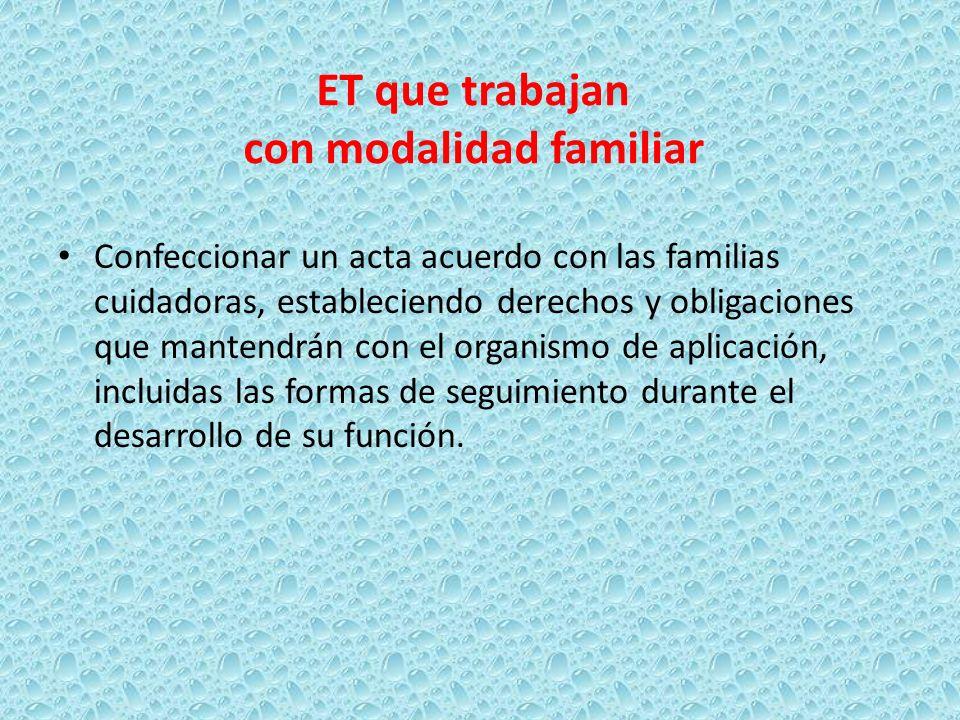 ET que trabajan con modalidad familiar