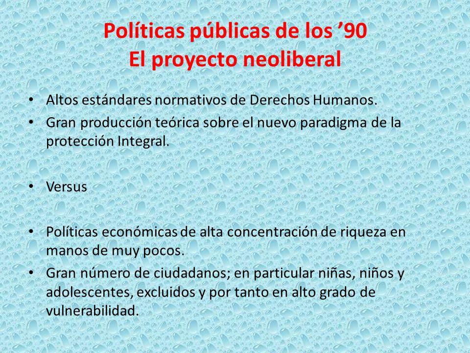 Políticas públicas de los '90 El proyecto neoliberal