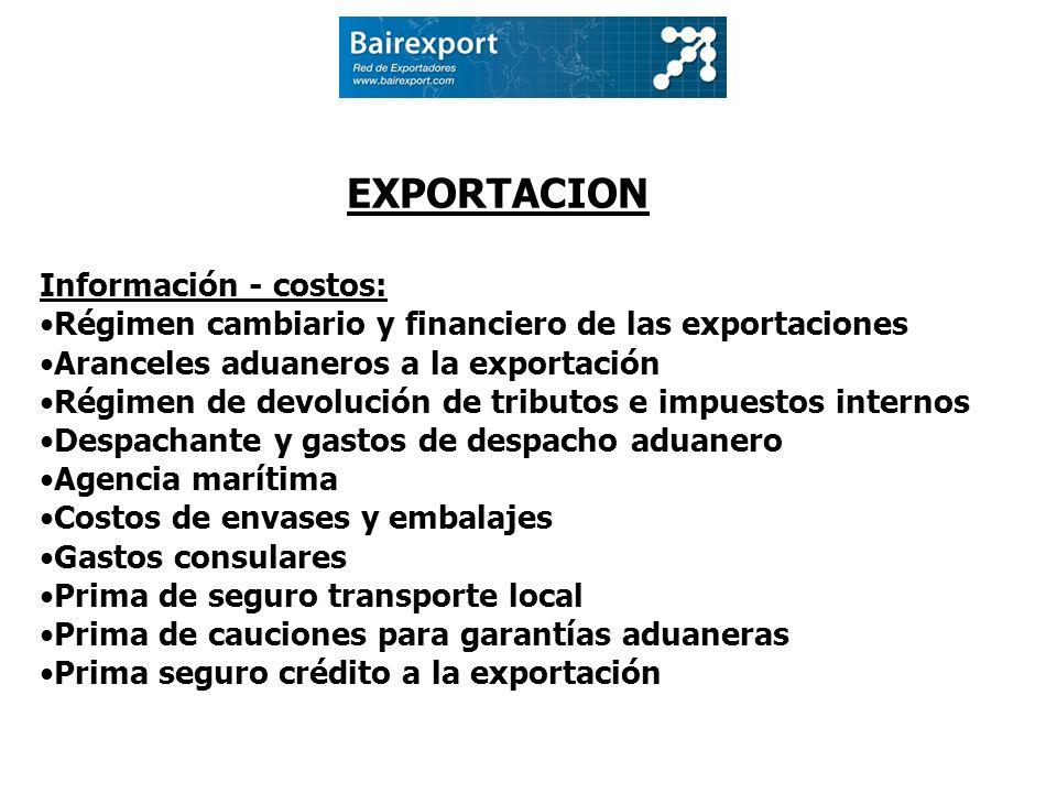 EXPORTACION Información - costos: