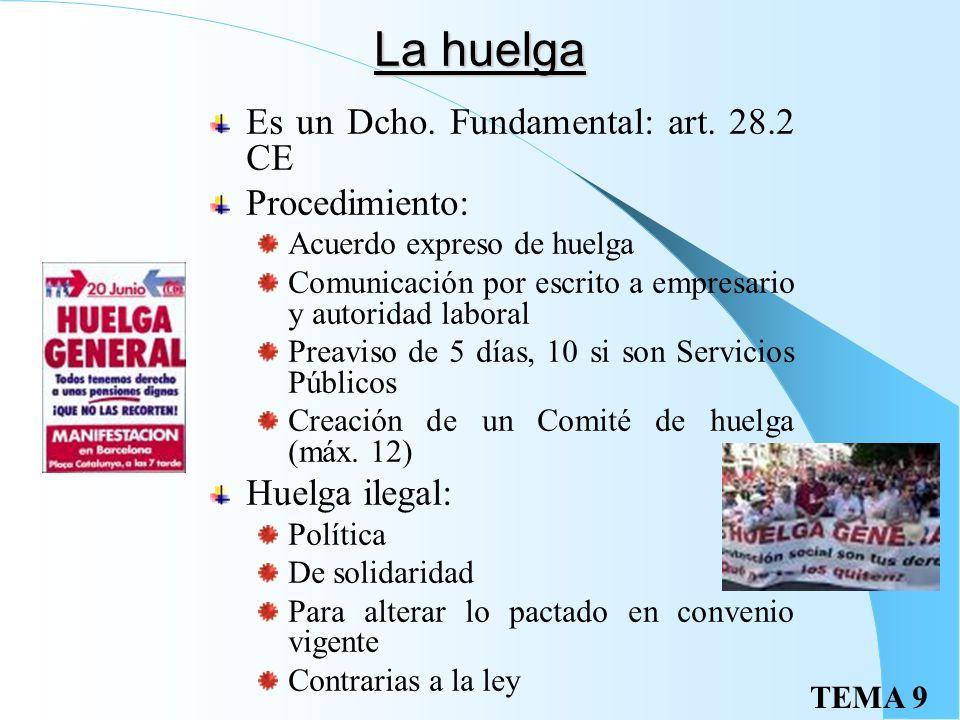 La huelga Es un Dcho. Fundamental: art. 28.2 CE Procedimiento: