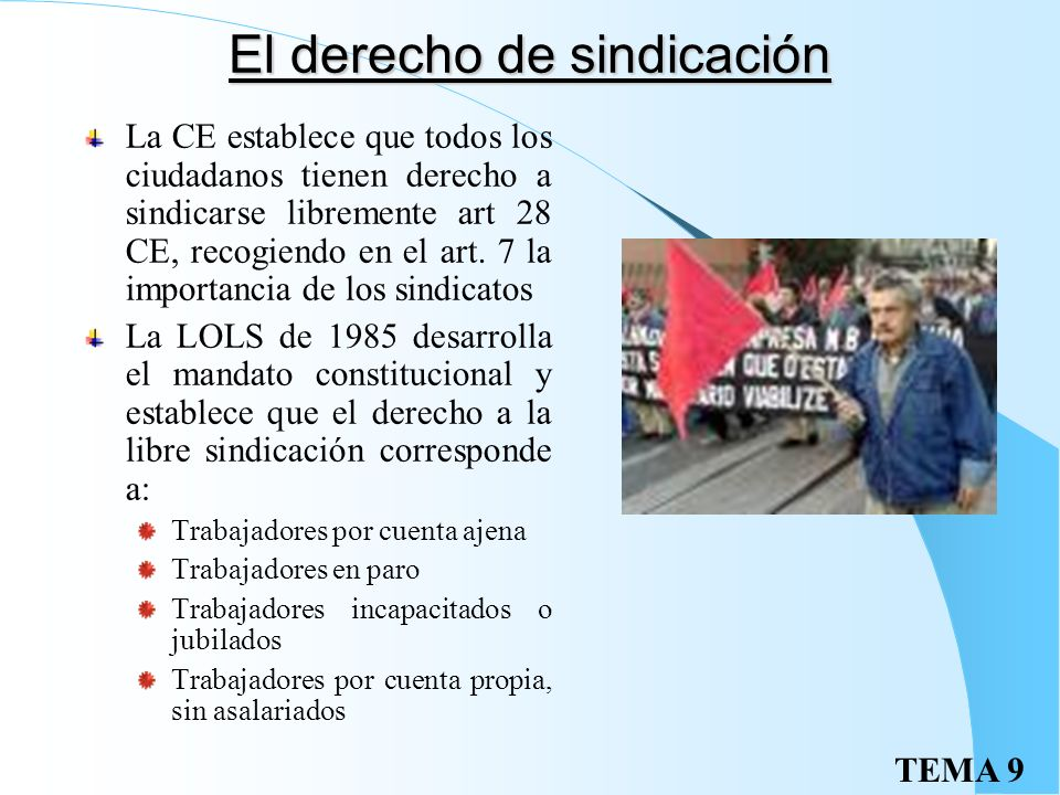 El derecho de sindicación
