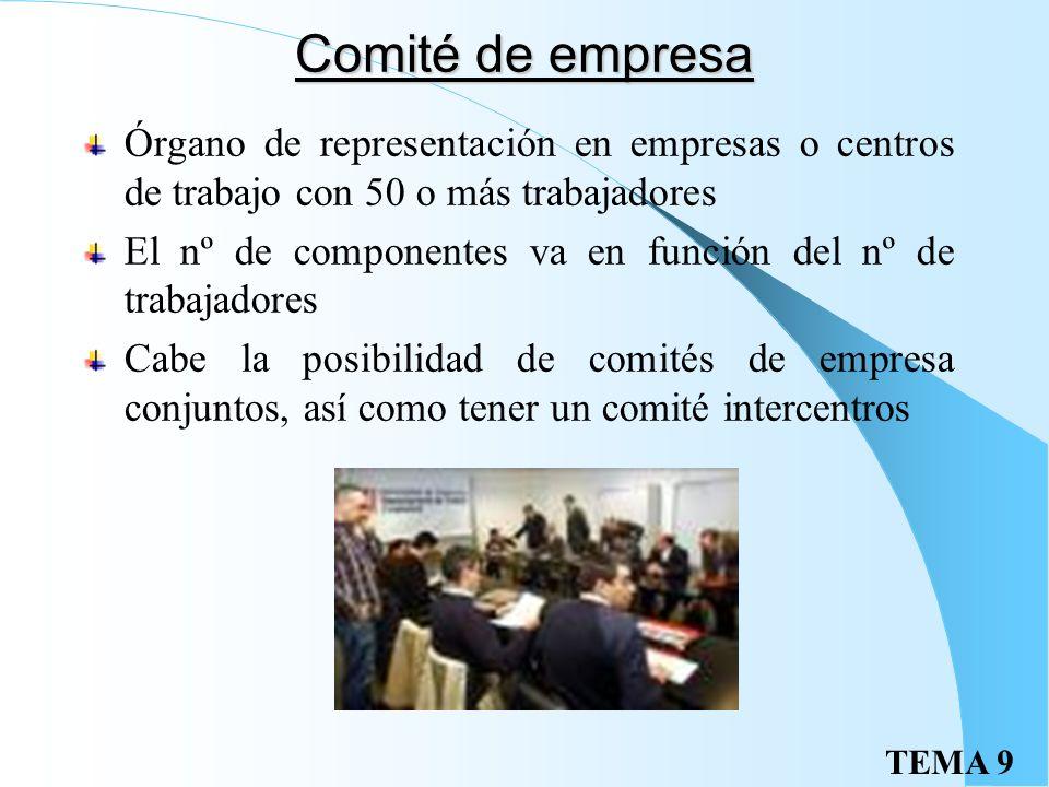 Comité de empresa Órgano de representación en empresas o centros de trabajo con 50 o más trabajadores.