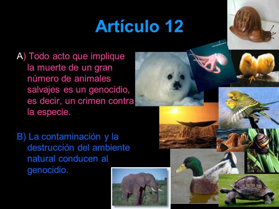 Artículo 12 A) Todo acto que implique la muerte de un gran número de animales salvajes es un genocidio, es decir, un crimen contra la especie.