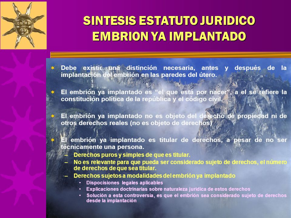 SINTESIS ESTATUTO JURIDICO EMBRION YA IMPLANTADO