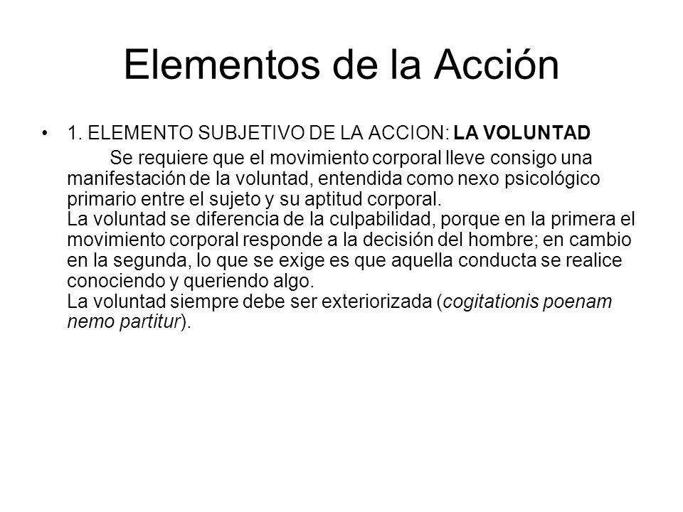 Elementos de la Acción 1. ELEMENTO SUBJETIVO DE LA ACCION: LA VOLUNTAD
