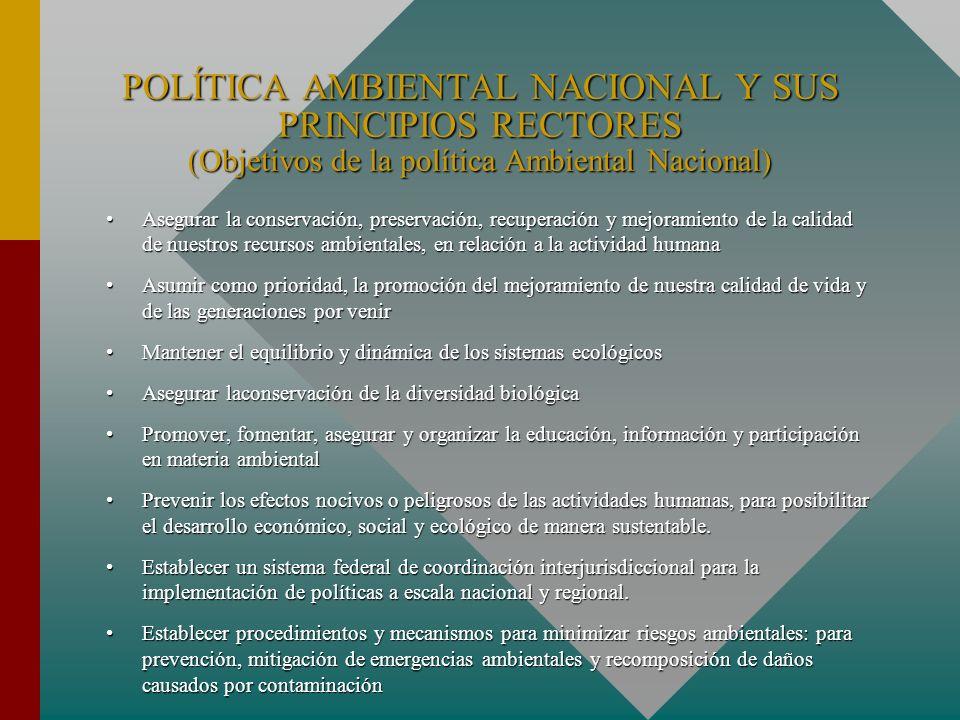 POLÍTICA AMBIENTAL NACIONAL Y SUS PRINCIPIOS RECTORES (Objetivos de la política Ambiental Nacional)