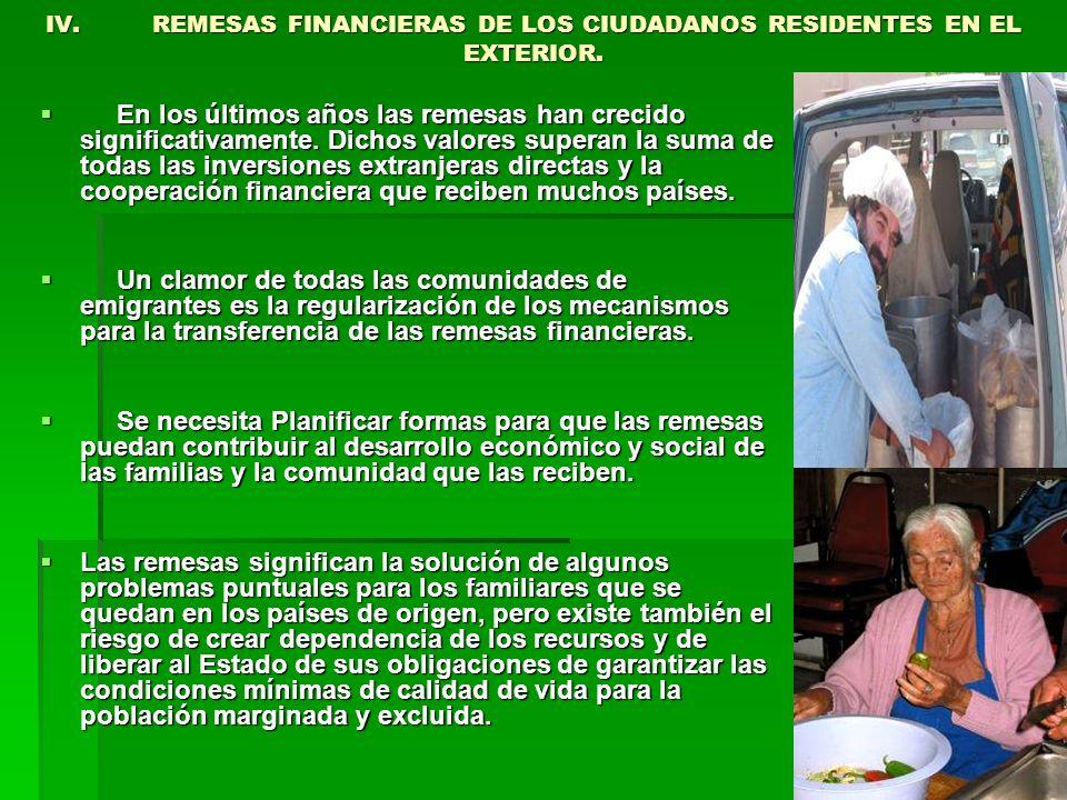 IV. REMESAS FINANCIERAS DE LOS CIUDADANOS RESIDENTES EN EL EXTERIOR.