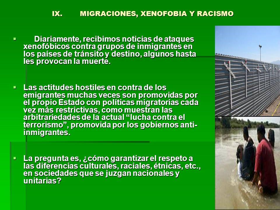 IX. MIGRACIONES, XENOFOBIA Y RACISMO
