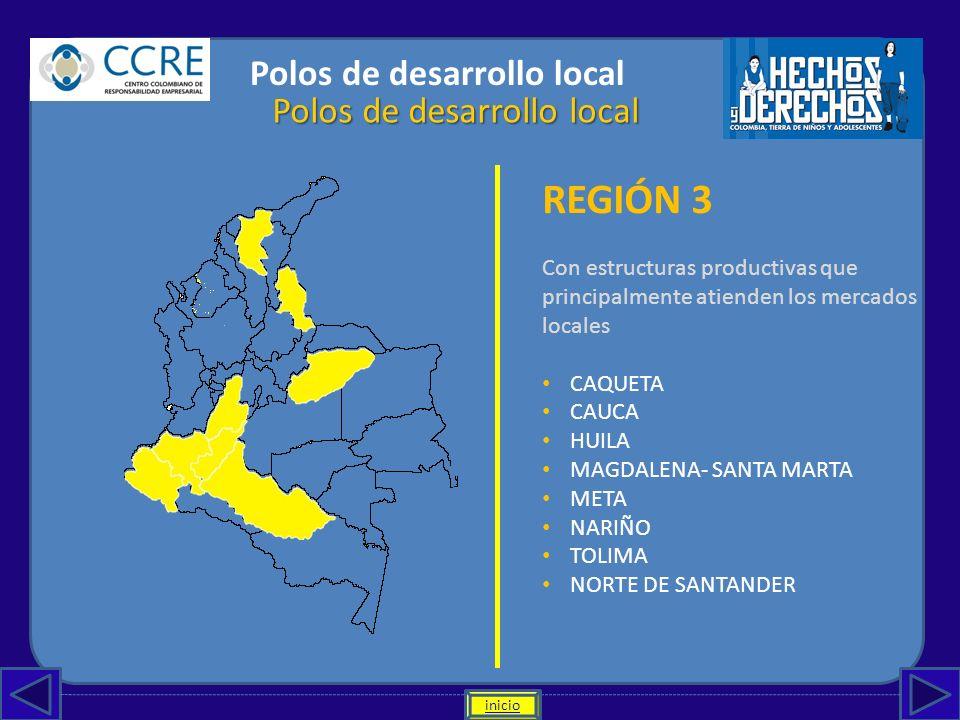 REGIÓN 3 Polos de desarrollo local Polos de desarrollo local