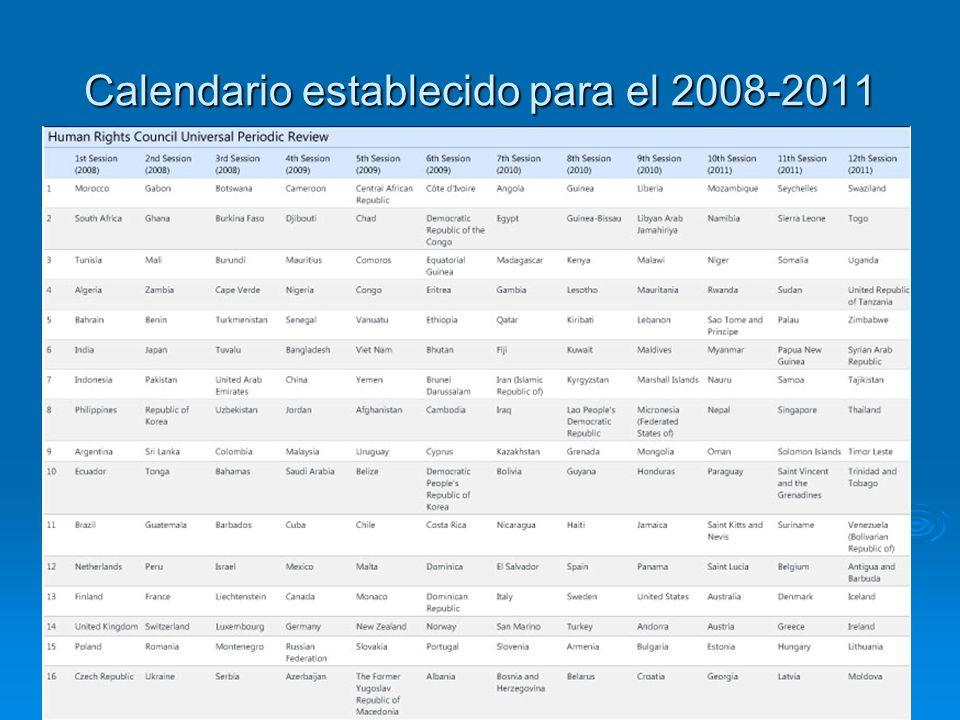 Calendario establecido para el 2008-2011