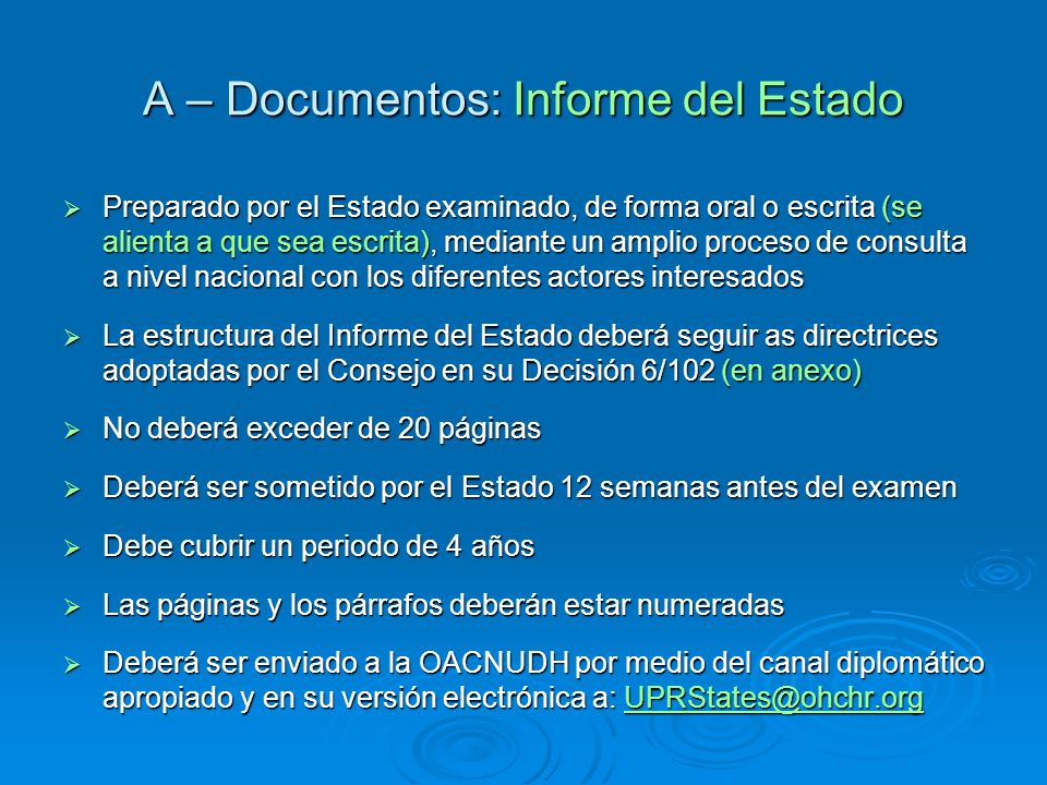 A – Documentos: Informe del Estado
