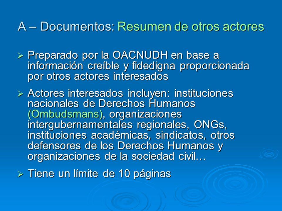 A – Documentos: Resumen de otros actores