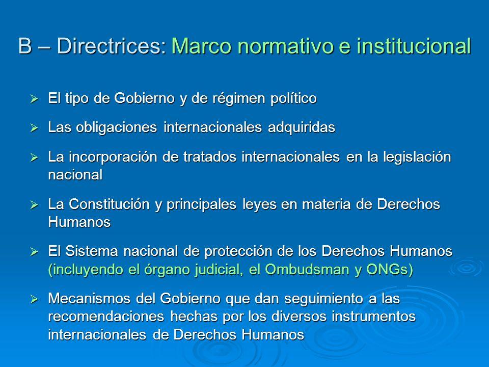 B – Directrices: Marco normativo e institucional