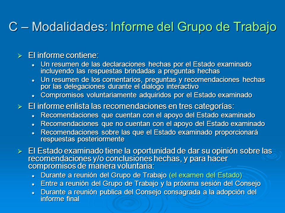 C – Modalidades: Informe del Grupo de Trabajo
