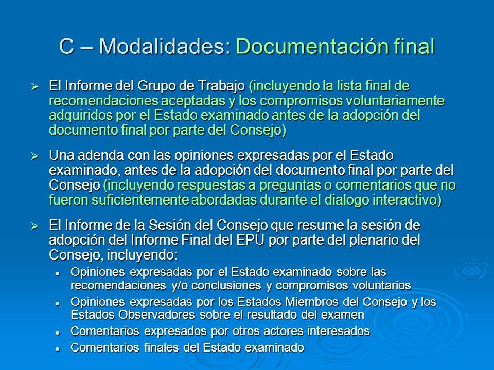 C – Modalidades: Documentación final