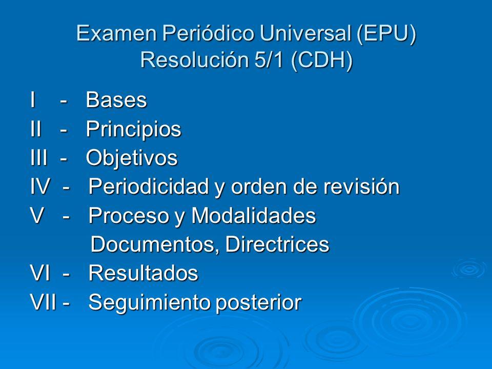 Examen Periódico Universal (EPU) Resolución 5/1 (CDH)