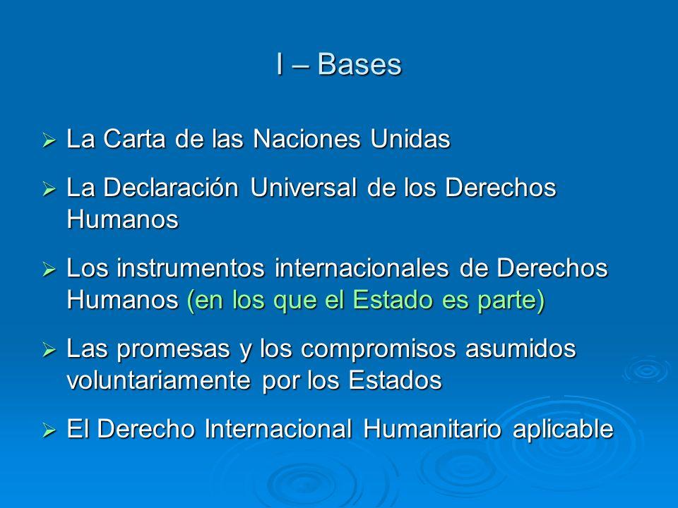 I – Bases La Carta de las Naciones Unidas