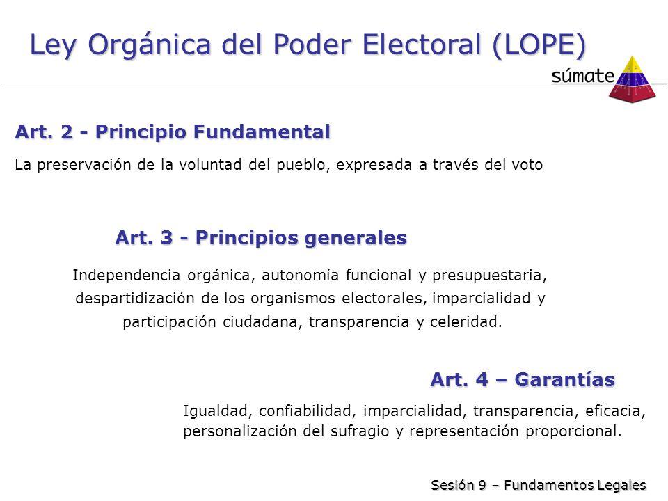 Ley Orgánica del Poder Electoral (LOPE)