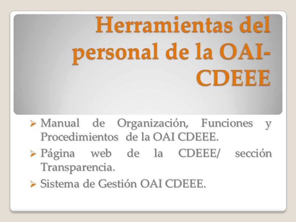 Herramientas del personal de la OAI-CDEEE