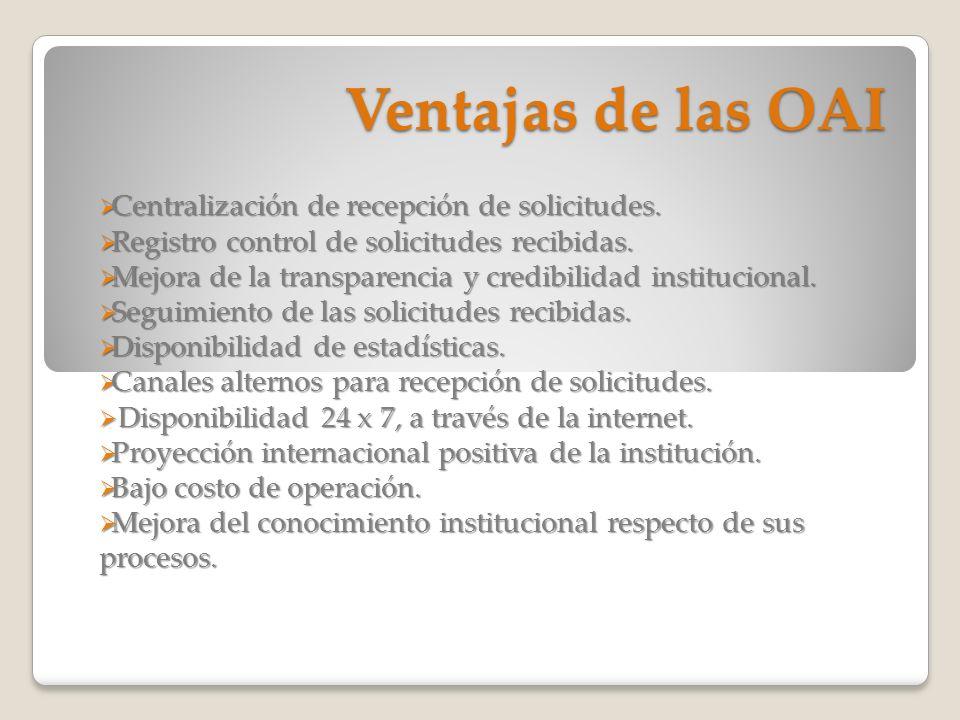 Ventajas de las OAI Centralización de recepción de solicitudes.