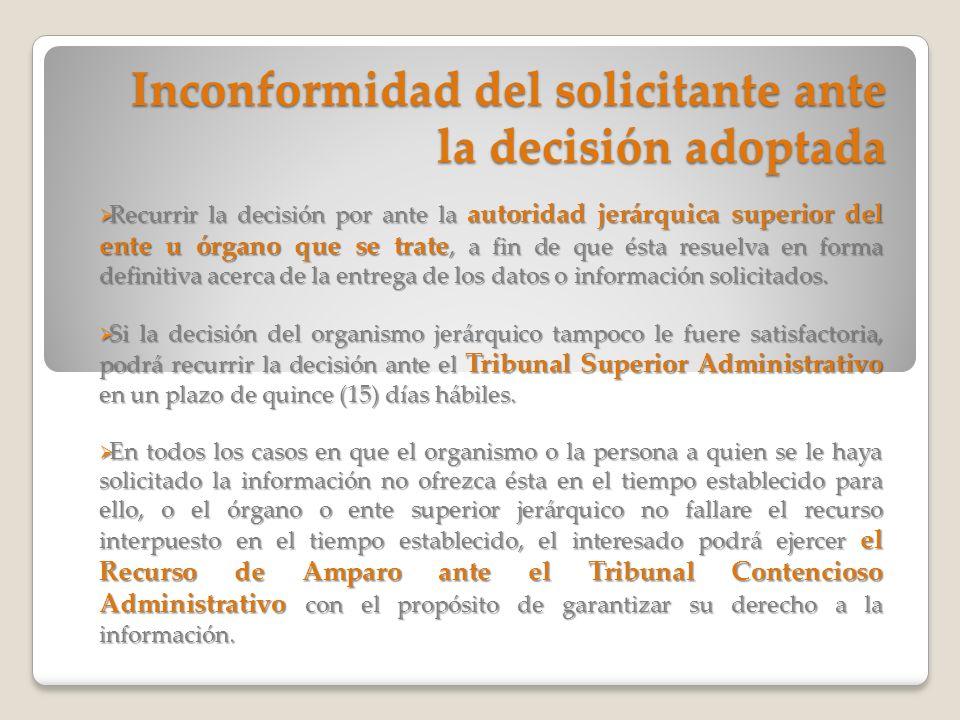 Inconformidad del solicitante ante la decisión adoptada
