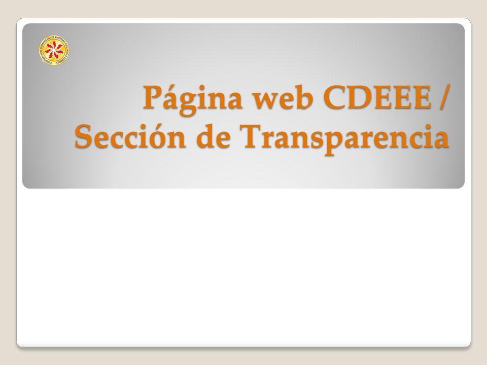 Página web CDEEE / Sección de Transparencia