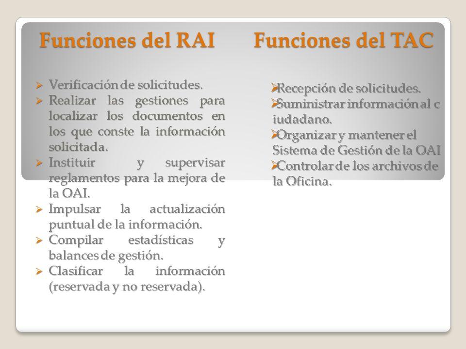 Funciones del RAI Funciones del TAC Verificación de solicitudes.