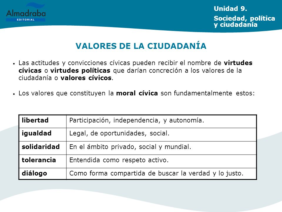 VALORES DE LA CIUDADANÍA