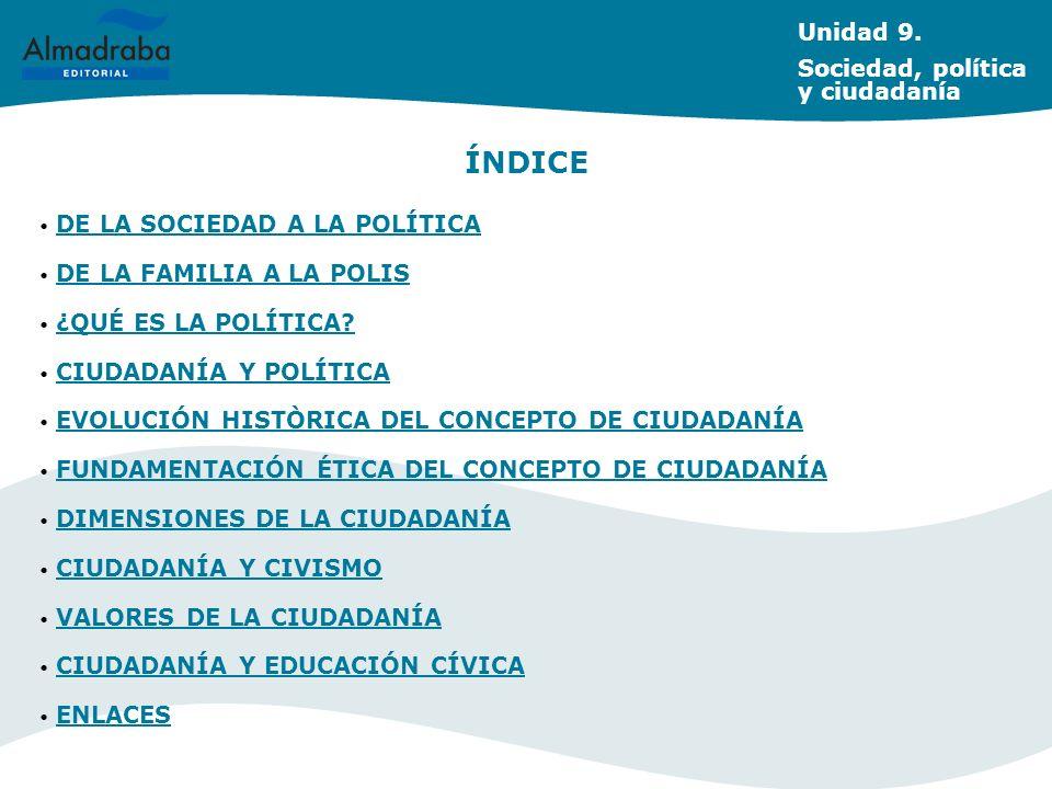 ÍNDICE Unidad 9. Sociedad, política y ciudadanía