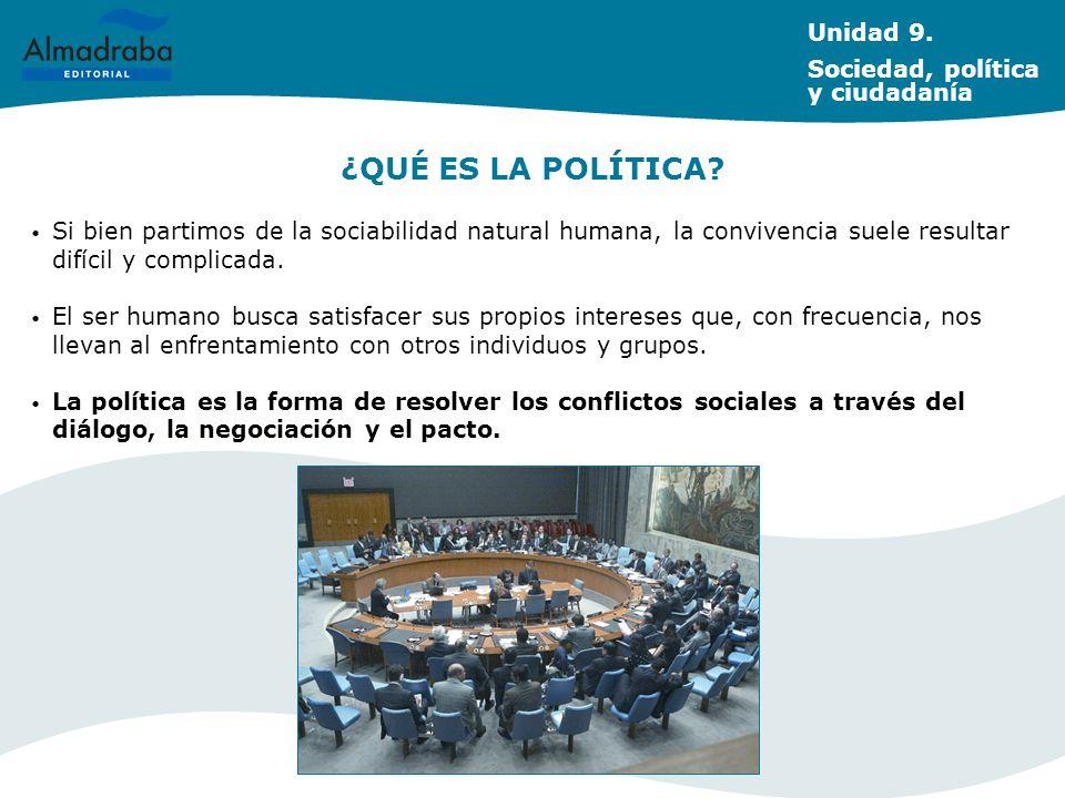 ¿QUÉ ES LA POLÍTICA Unidad 9. Sociedad, política y ciudadanía