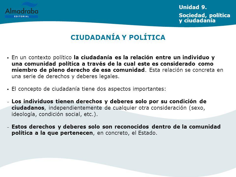 CIUDADANÍA Y POLÍTICA Unidad 9. Sociedad, política y ciudadanía