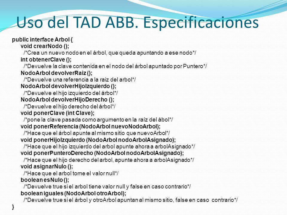 Uso del TAD ABB. Especificaciones