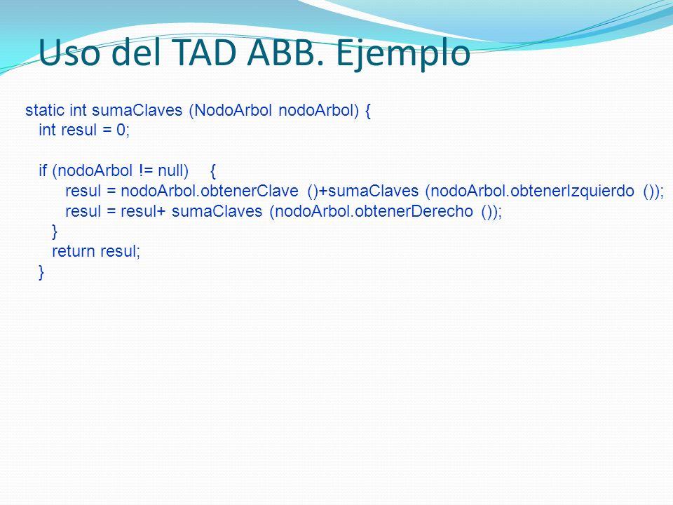 Uso del TAD ABB. Ejemplo