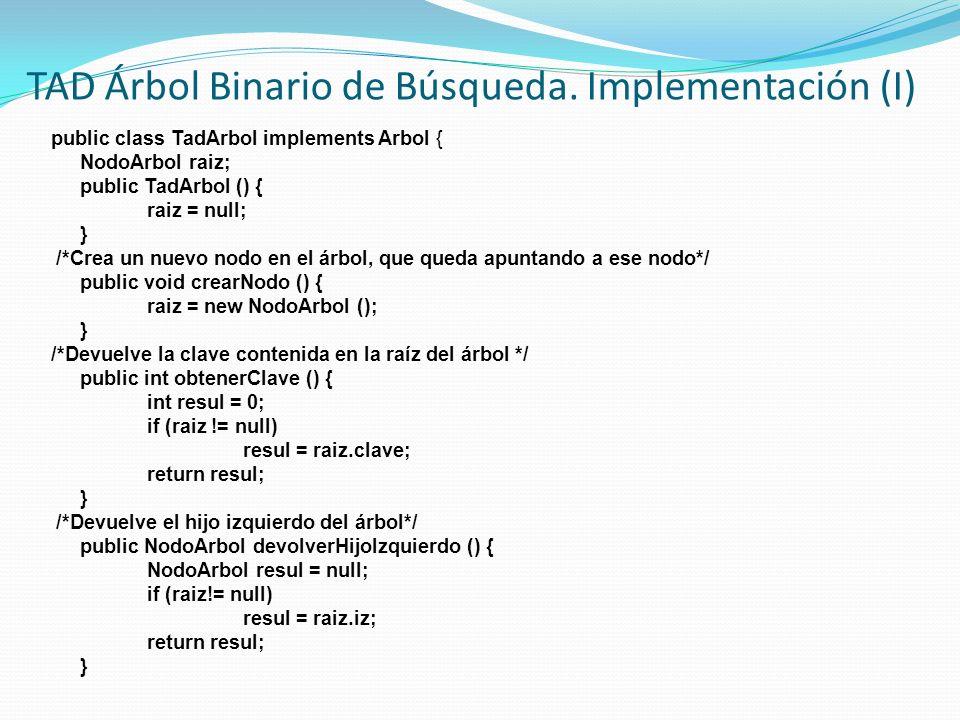 TAD Árbol Binario de Búsqueda. Implementación (I)