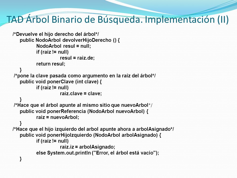 TAD Árbol Binario de Búsqueda. Implementación (II)