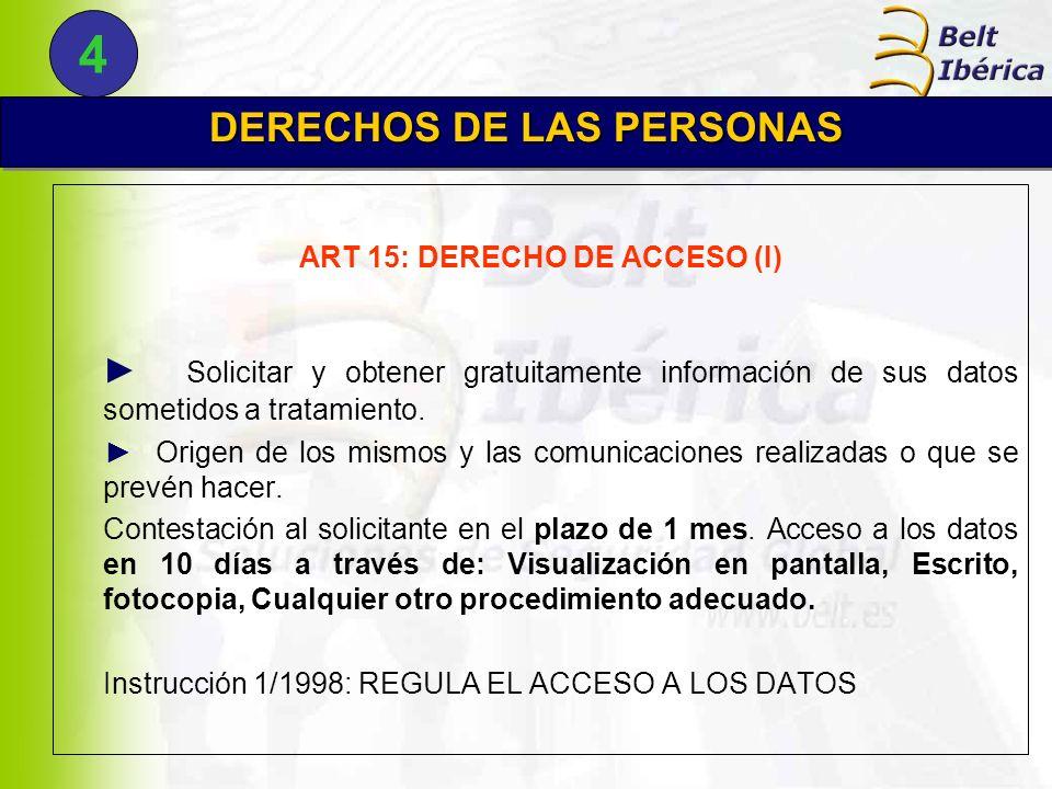 DERECHOS DE LAS PERSONAS ART 15: DERECHO DE ACCESO (I)
