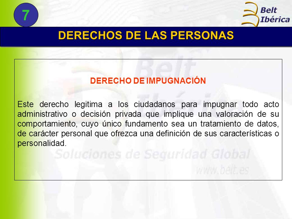 DERECHOS DE LAS PERSONAS DERECHO DE IMPUGNACIÓN