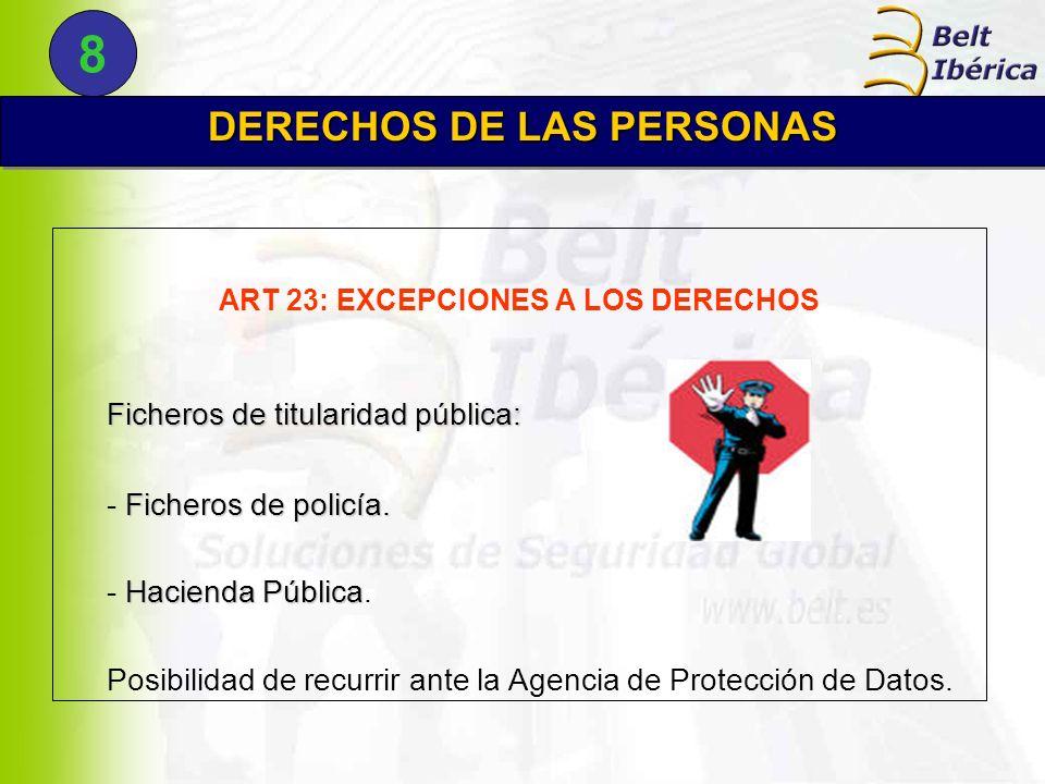 DERECHOS DE LAS PERSONAS ART 23: EXCEPCIONES A LOS DERECHOS