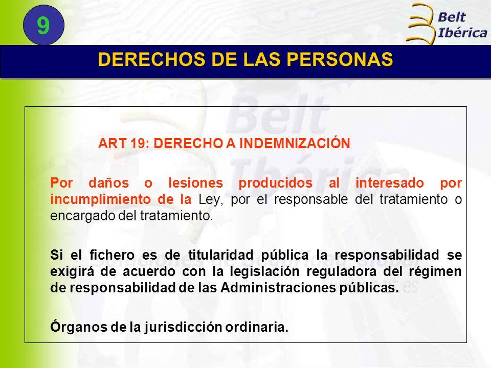 DERECHOS DE LAS PERSONAS ART 19: DERECHO A INDEMNIZACIÓN