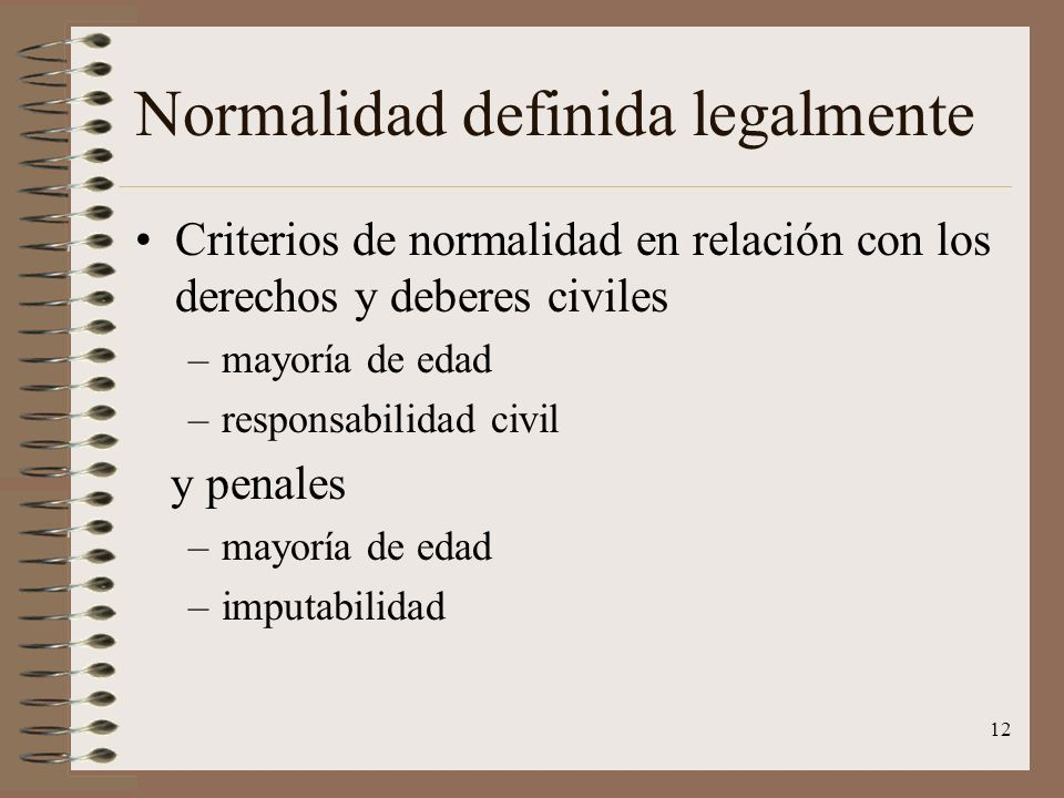 Normalidad definida legalmente