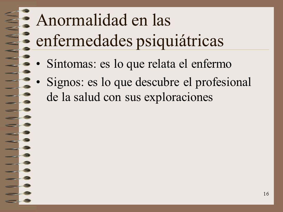 Anormalidad en las enfermedades psiquiátricas