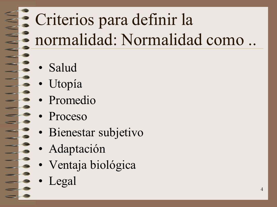 Criterios para definir la normalidad: Normalidad como ..