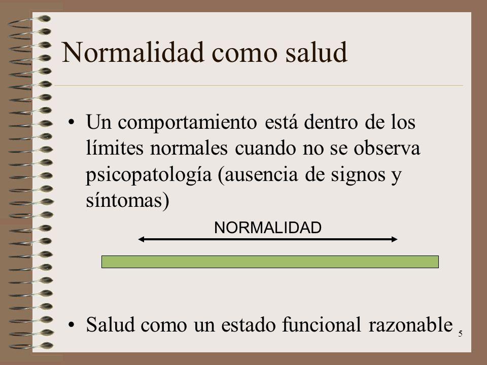Normalidad como salud Un comportamiento está dentro de los límites normales cuando no se observa psicopatología (ausencia de signos y síntomas)