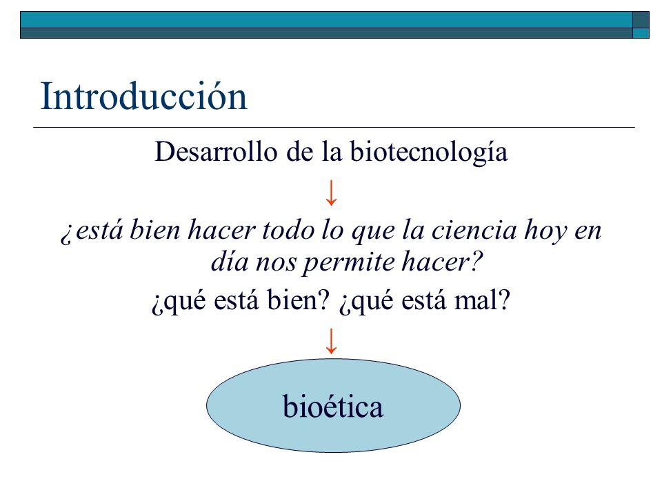 Introducción bioética Desarrollo de la biotecnología ↓