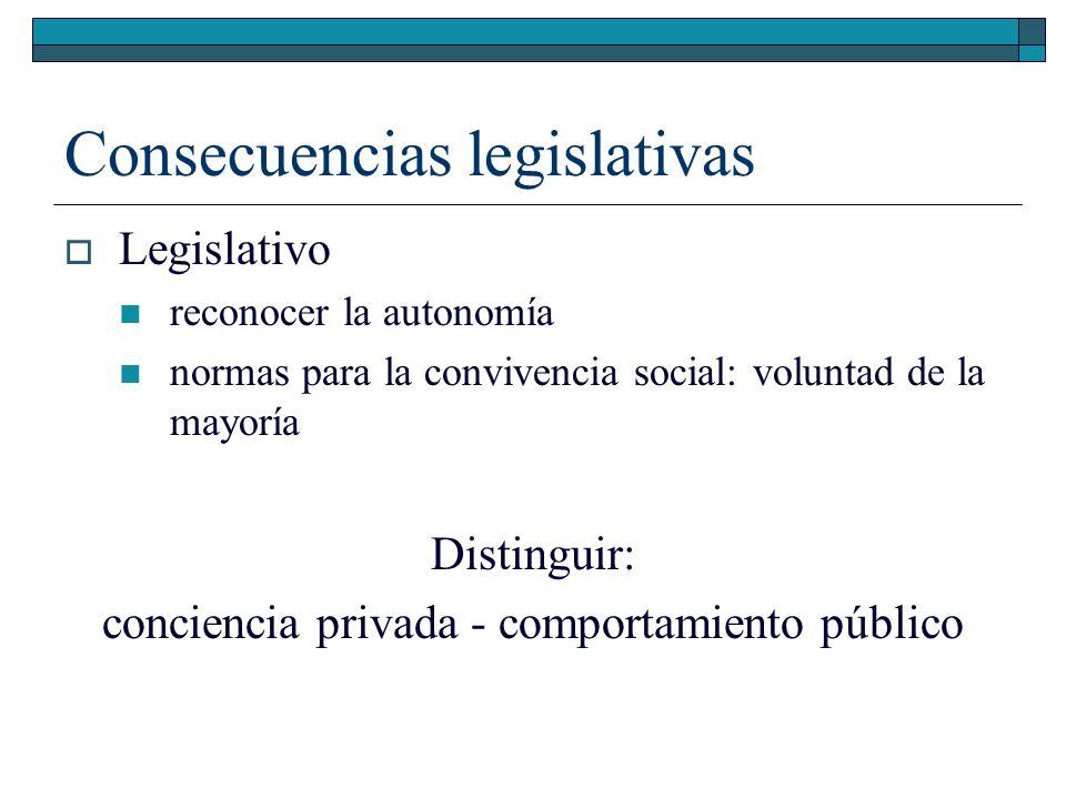 Consecuencias legislativas