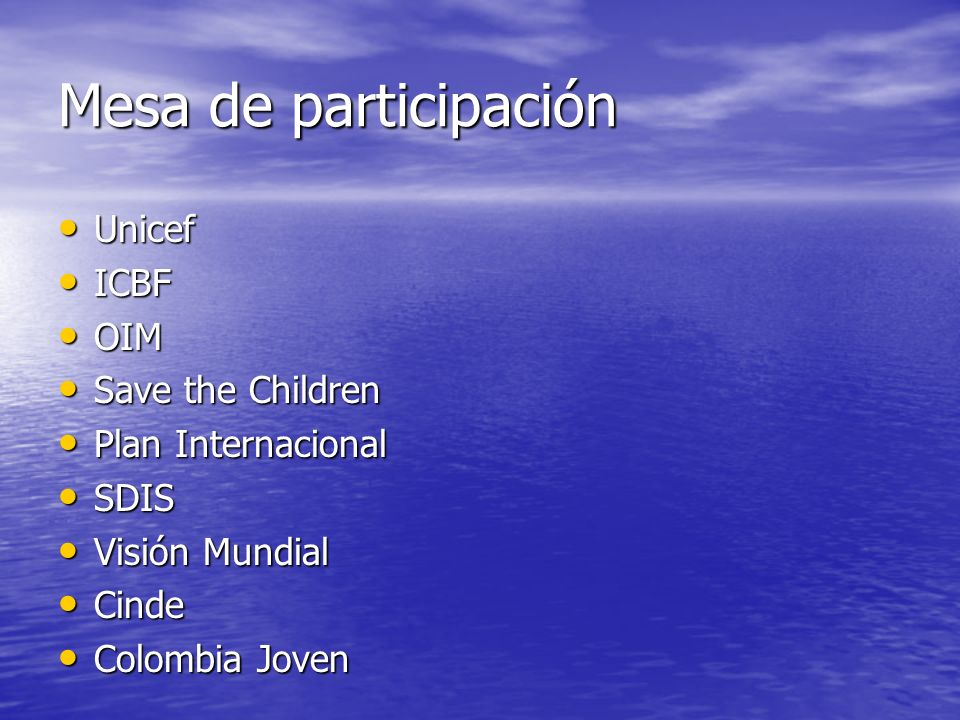 Mesa de participación Unicef ICBF OIM Save the Children